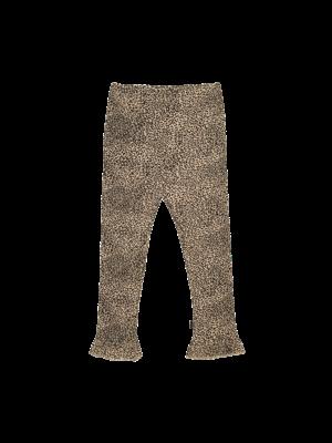 House of Jamie Rib frill legging charcoal little leopard