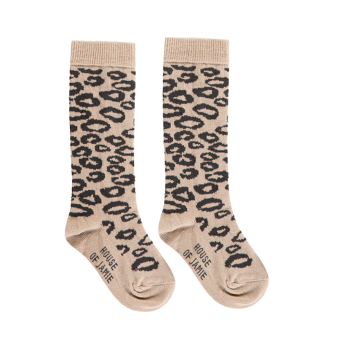 House of Jamie knee socks caramel leopard