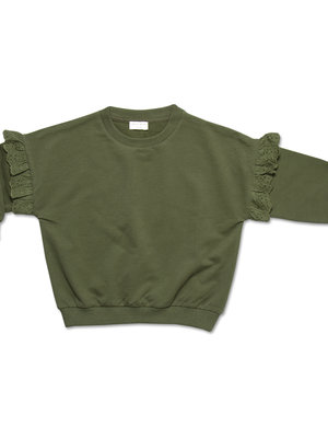 Petit blush Sweater Ruffle EmbroideryMist Green