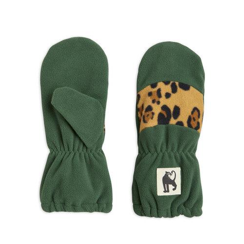 Mini rodini Fleece mittens stripe green leoprd