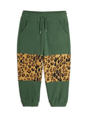 Mini rodini Fleece panel trousers green leopard