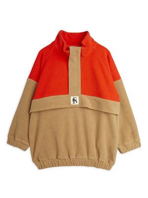 Mini rodini Fleece zip pullover brown red