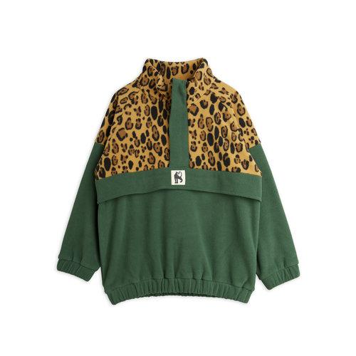 Mini rodini Fleece zipp pullover green leopard