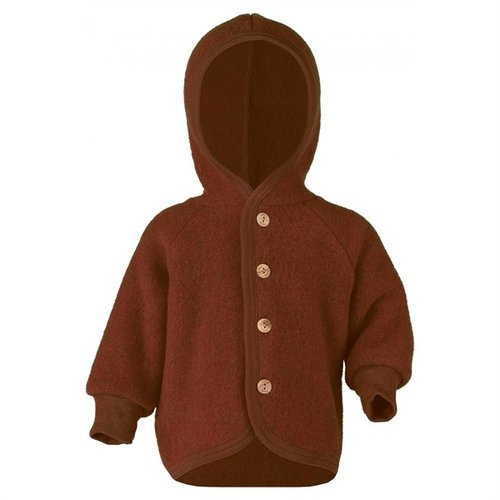 Engel Hooded jacket with wooden buttons cinnamon mélange