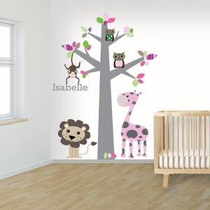 Muursticker boom jungle pink met naam