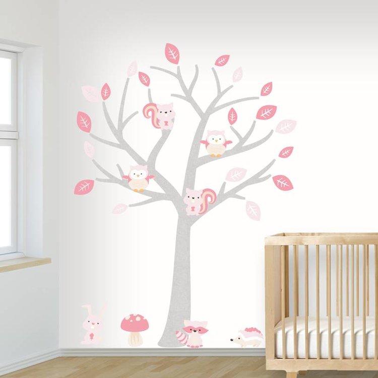 Muursticker Boom Baby Woodland pink