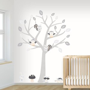 Muursticker Boom Baby Woodland grey