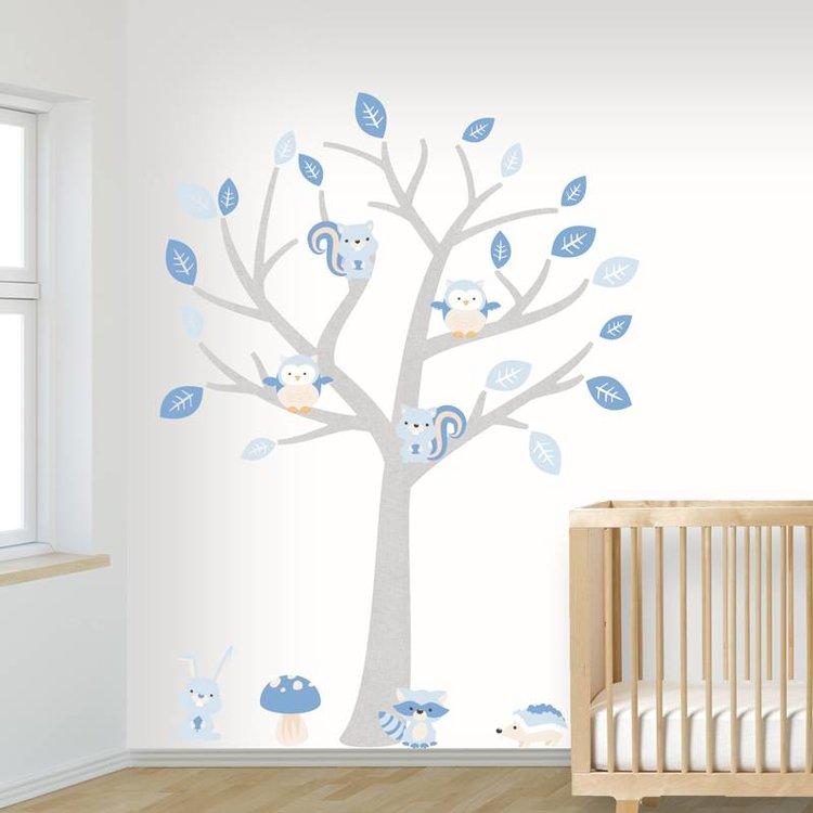 Muursticker Boom Baby Woodland blue
