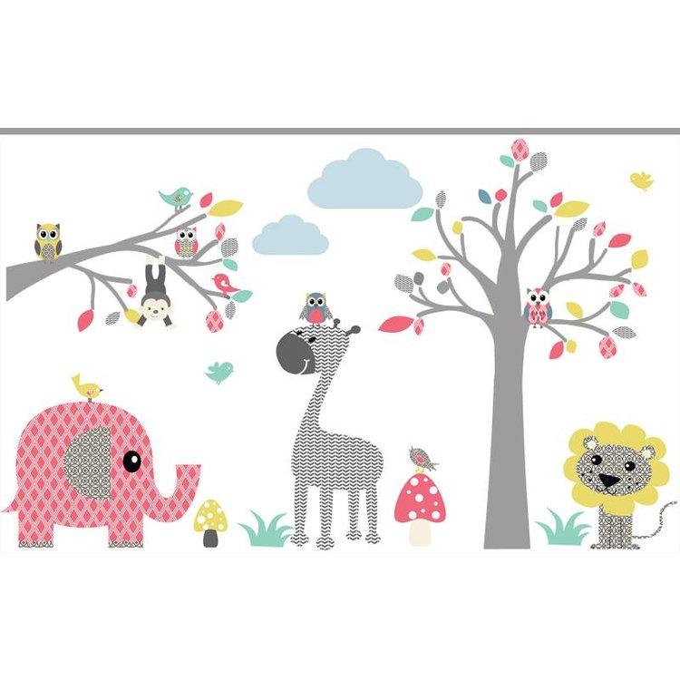 Muursticker Boom & Tak safari pink
