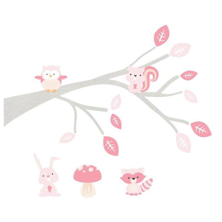 Muursticker Tak Woodland pink