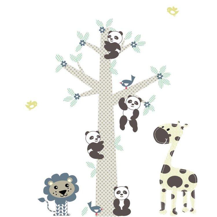 Muursticker Boom Panda's blue