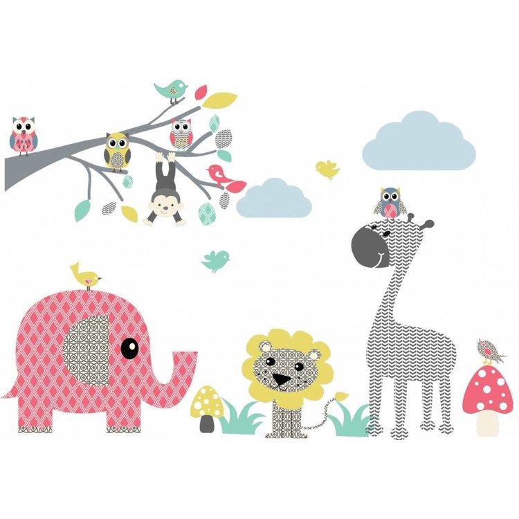 DecoDeco Muursticker tak Safari XL - pink