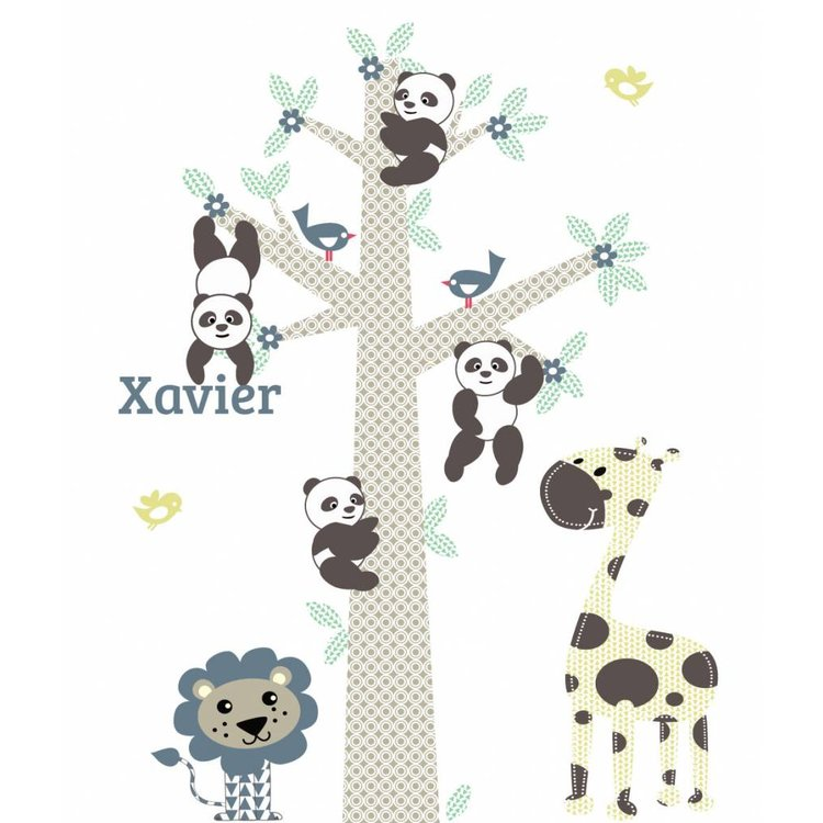 Muursticker Boom Panda's blue - Copy