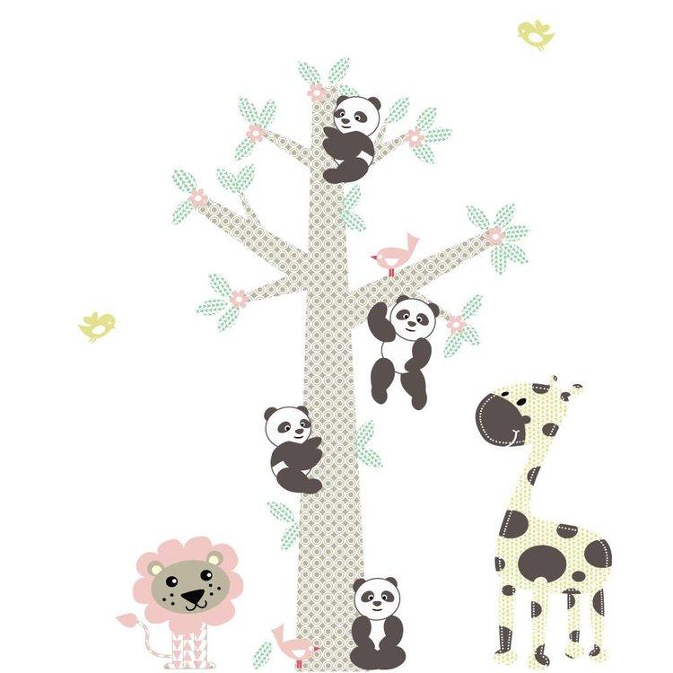 Muursticker Boom Panda's pink