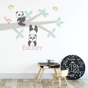 DecoDeco Muursticker Tak Panda's pink met naam
