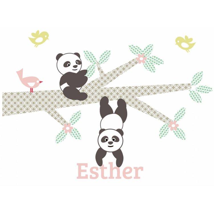Muursticker Tak Panda's pink met naam