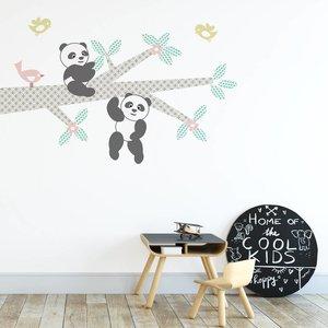 DecoDeco Muursticker Tak Panda's pink