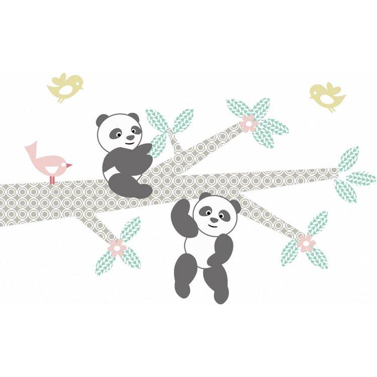 Muursticker Tak Panda's pink