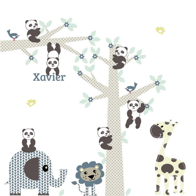 Muursticker Boom & tak Panda's blue met naam