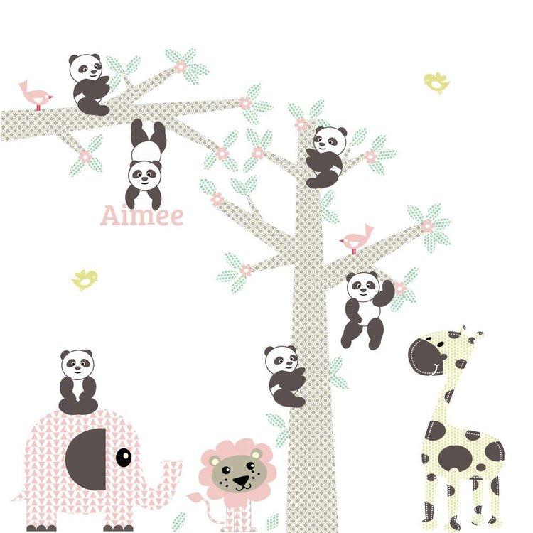 Muursticker Boom & tak Panda's pink met naam