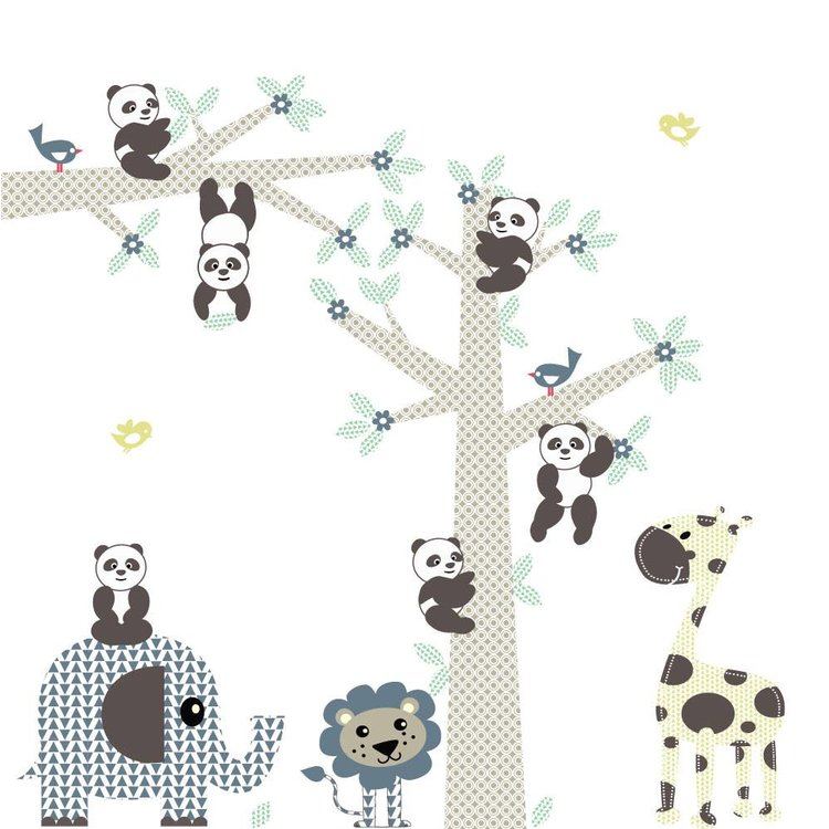 DecoDeco Muursticker Boom & tak Panda's blue