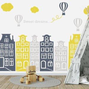 Muursticker huisjes en luchtballonnen grijs-geel