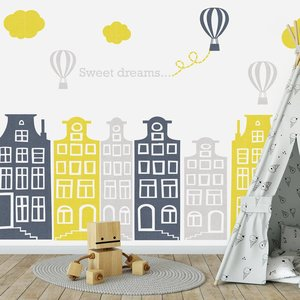 Muursticker huisjes en luchtbalonnen grijs-geel