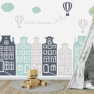 DecoDeco Muursticker Huisjes en luchtballonnen grijs - mint
