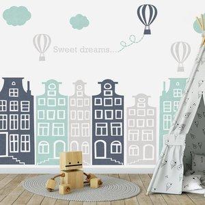 Muursticker Huisjes en luchtballonnen grijs - mint