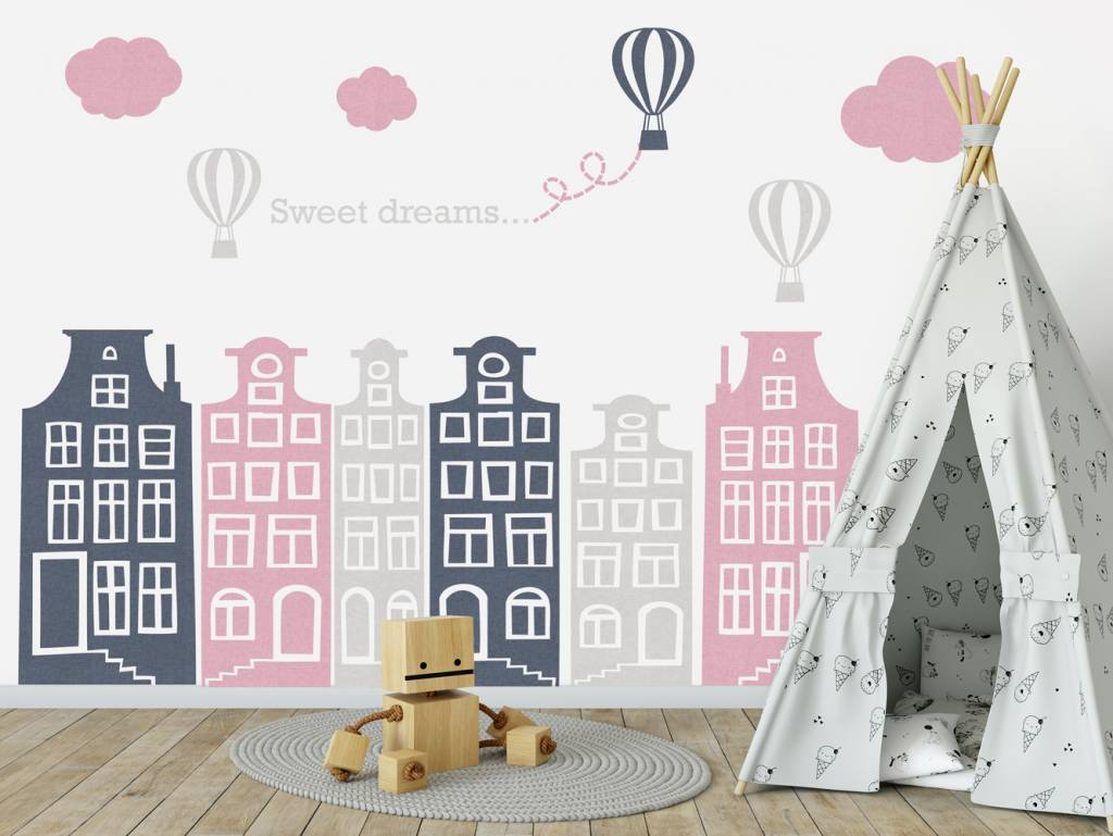 Creative muurstickers eiffeltoren parijs vlag patroon behang