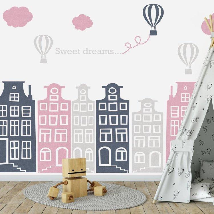 Muursticker Huisjes en luchtballonnen roze - grijs