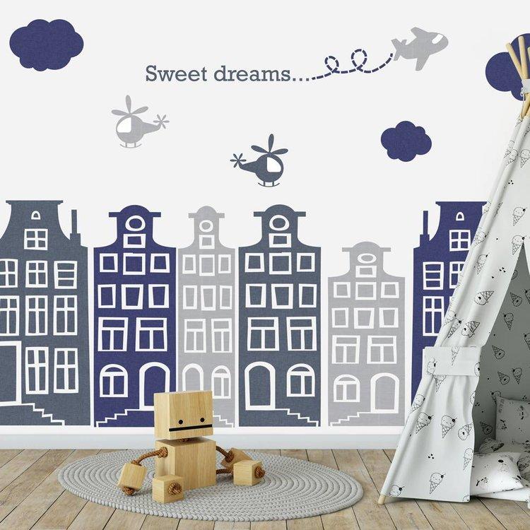 DecoDeco Muursticker Huisjes en vliegtuigen grijs - blauw