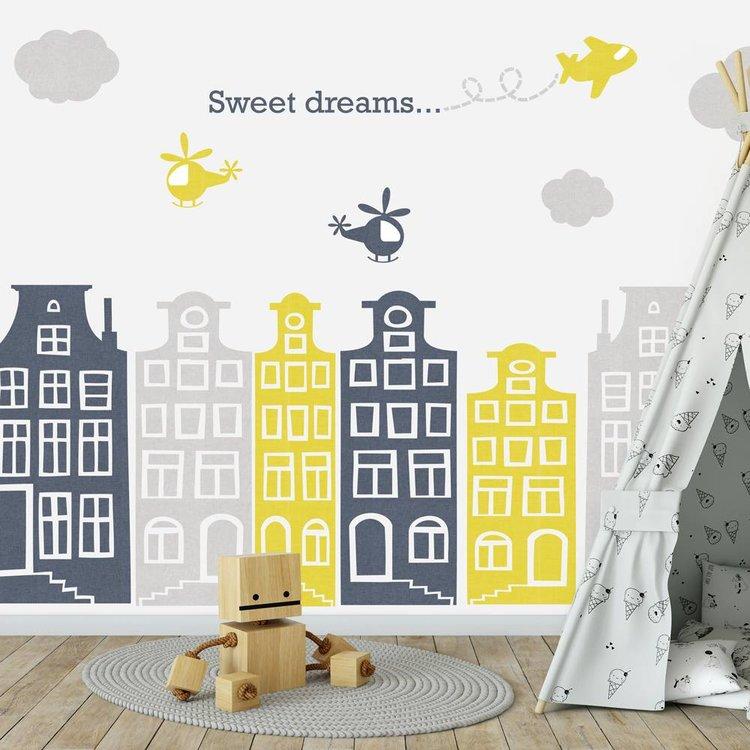 Muursticker Huisjes en vliegtuigjes grijs - geel