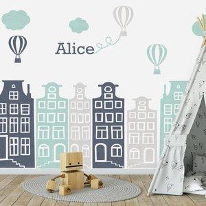 Muursticker Huisjes en luchtballonnen grijs - mint, met naam