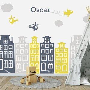 Muursticker Huisjes en vliegtuigen grijs - geel met naam