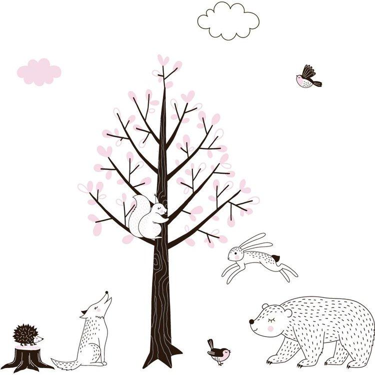 Muursticker Boom Forest pink