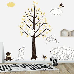 DecoDeco Muursticker Boom Forest yellow