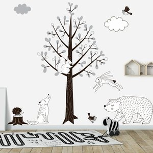 Muursticker Boom Forest grey