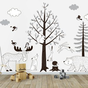 Muursticker Bomen set Forest grey