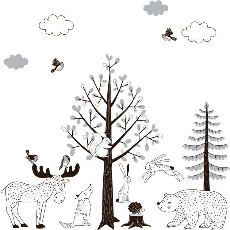 Muursticker Bomen set Forest grey