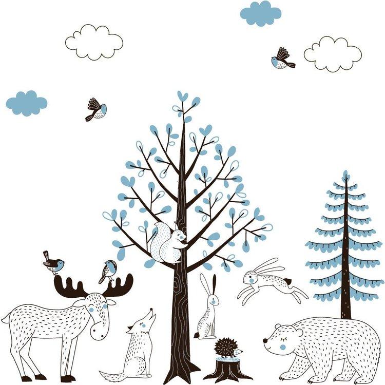 Muursticker Bomen set Forest blue