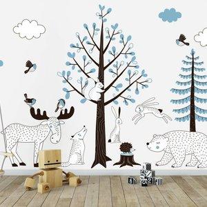 DecoDeco Muursticker Bomen set Forest blue