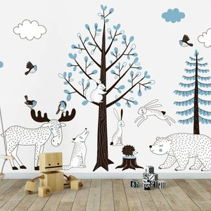 Muursticker Bomen set Forest blue
