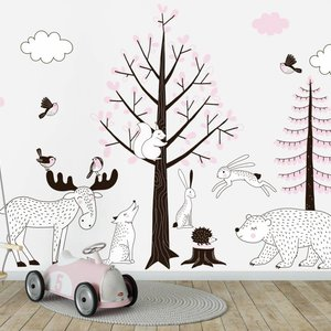 Muursticker Bomen set Forest pink