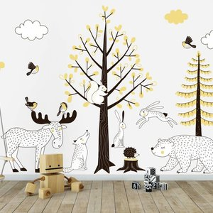 Muursticker Bomen set Forest yellow