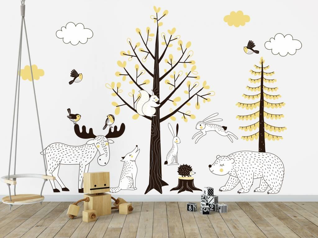 Muursticker kinderen bomen set forest yellow decodeco happy walls