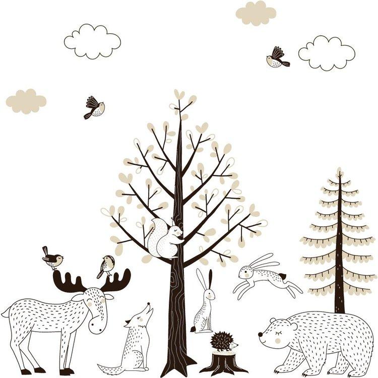 Muursticker Bomen set Forest taupe