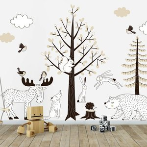 Muursticker Bomen set Forest taupe