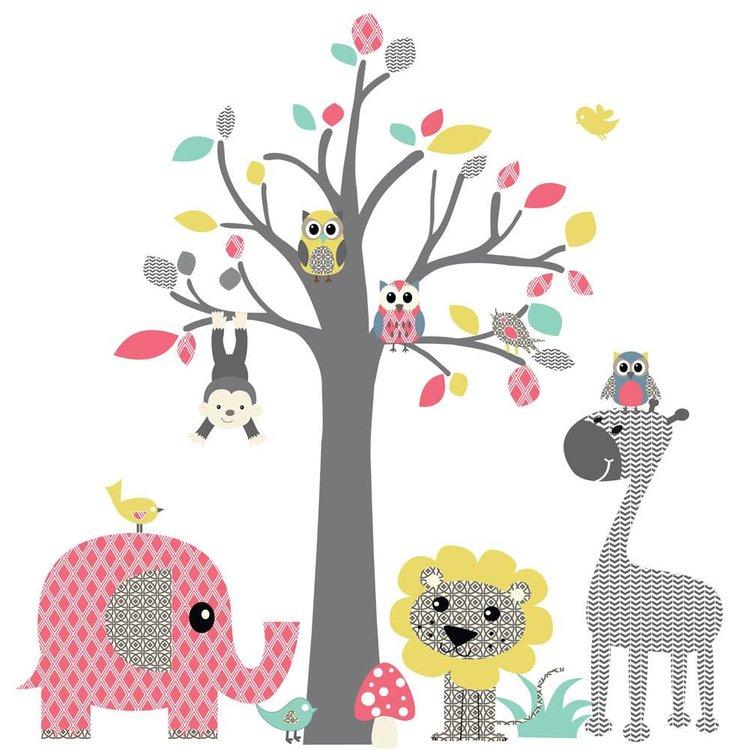 Muursticker Boom safari pink