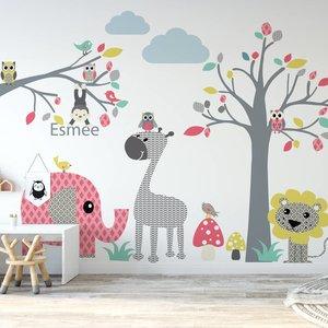 Muursticker Boom & Tak safari pink, met naam!